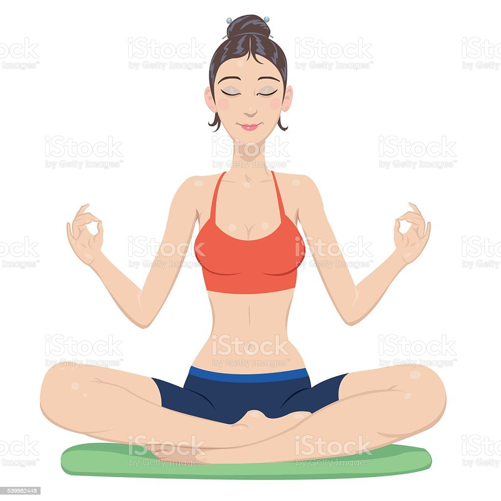 Meditating woman royalty-free stock vector art