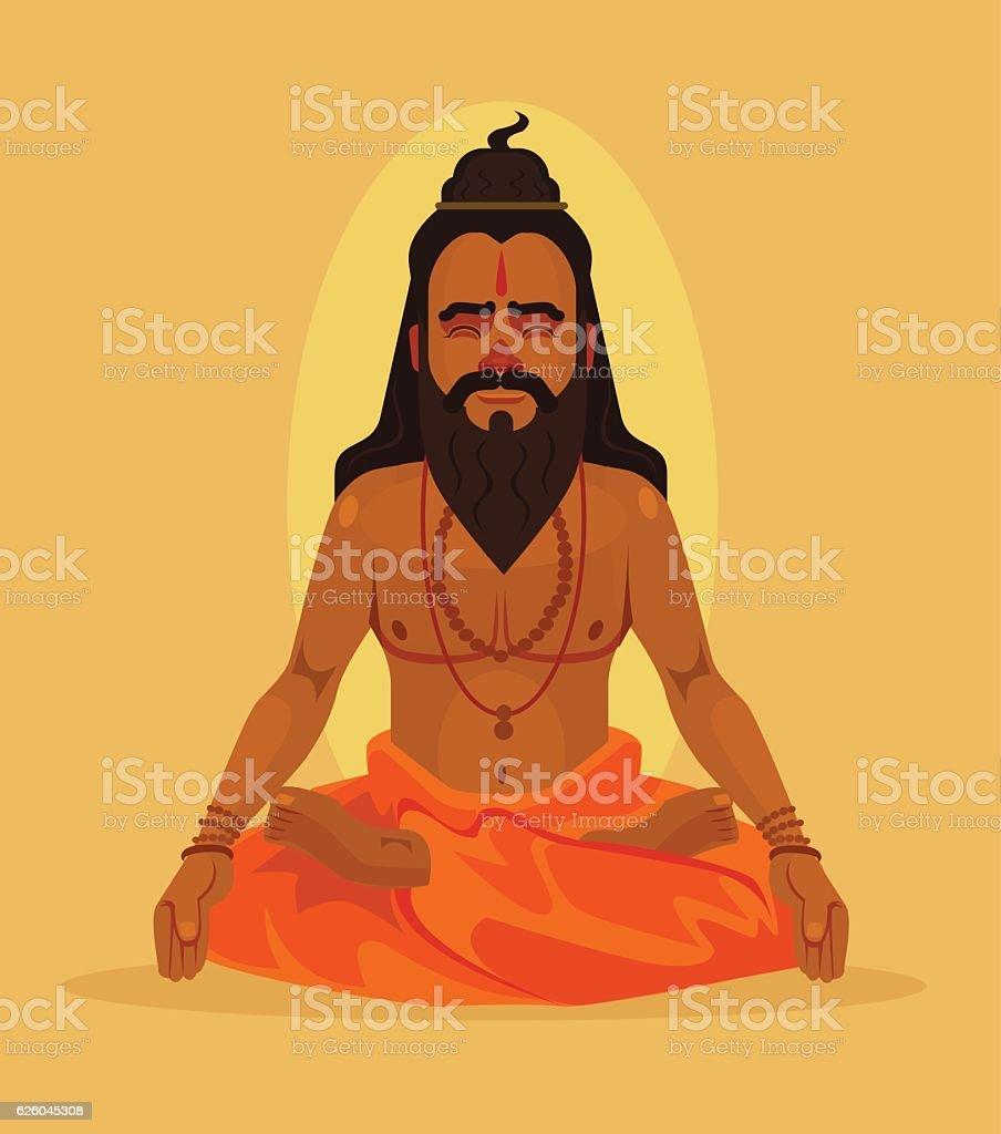 Meditating yogi man character. Vector flat cartoon illustration vector art illustration
