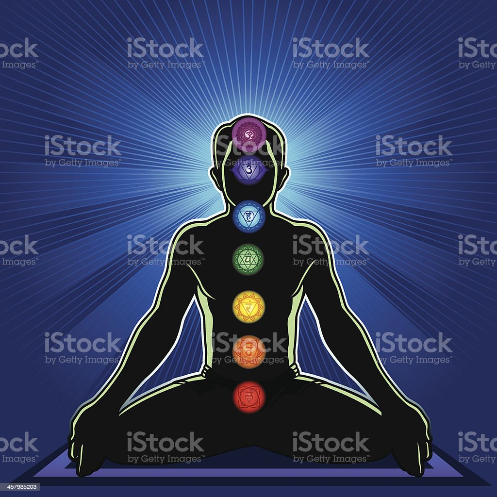 Meditation and Chakra vector art illustration
