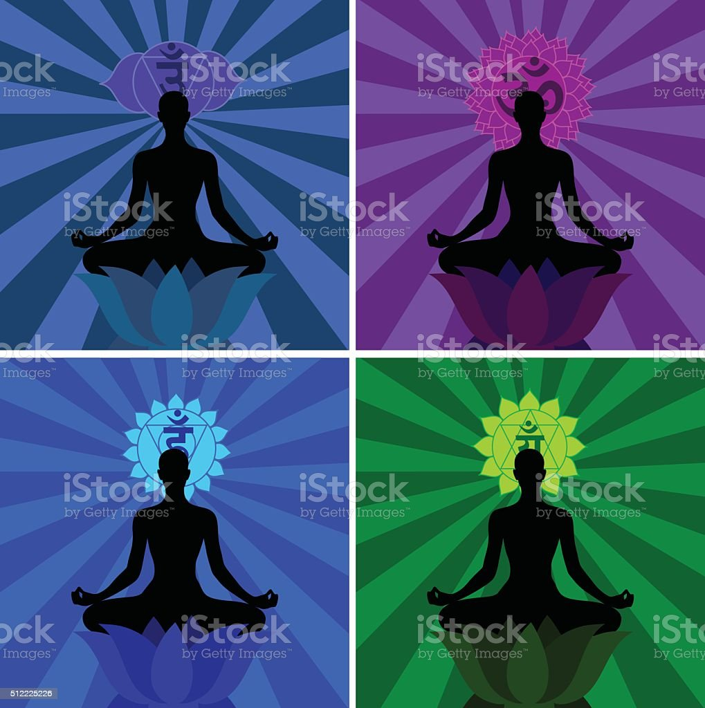 Meditation And Chakras vector art illustration