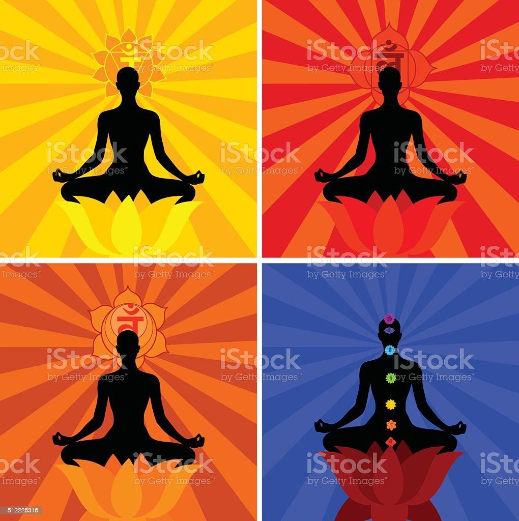 Meditation And Chakras vector art illustration