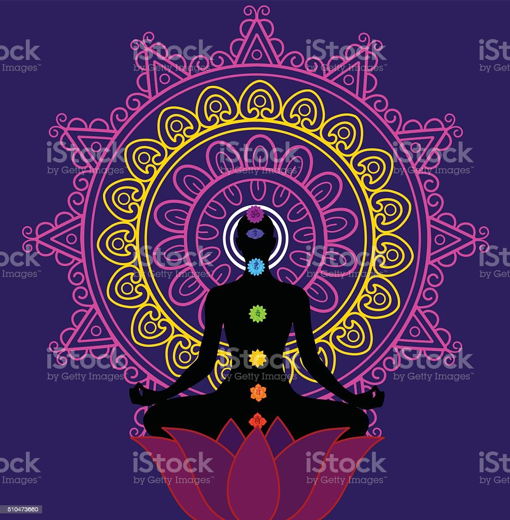 Meditation And Seaven Chakra vector art illustration