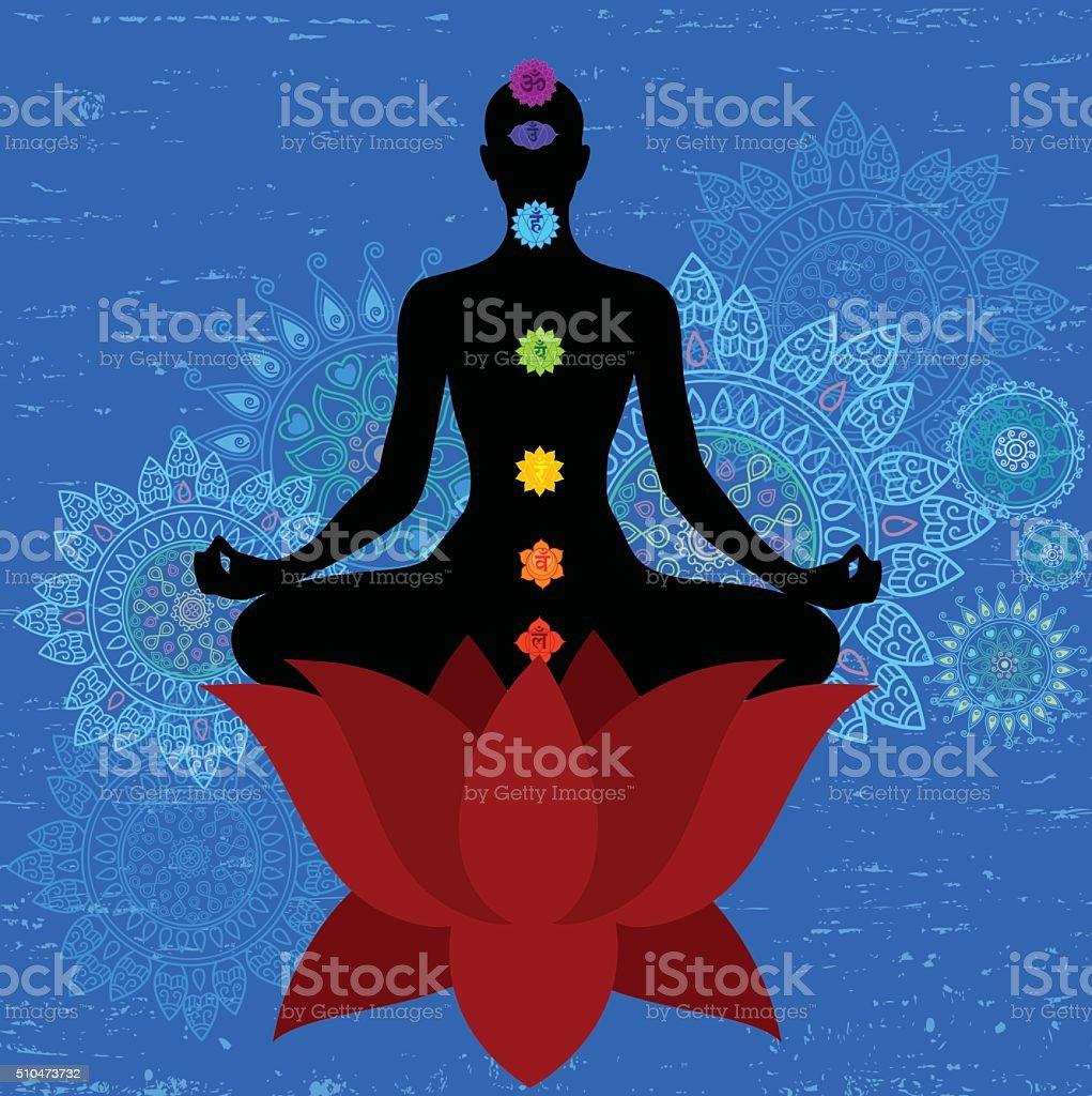 Meditation And Seaven Chakra vector art illustration