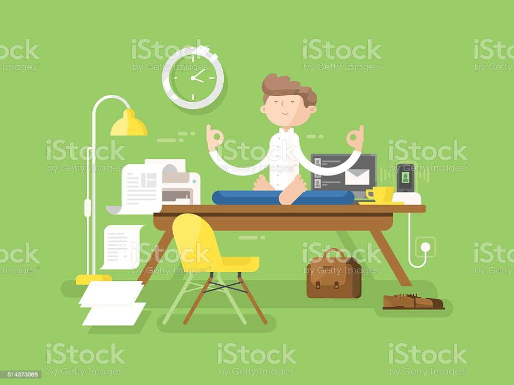 meditation businessman office. meditation businessman in office royaltyfree stock vector art