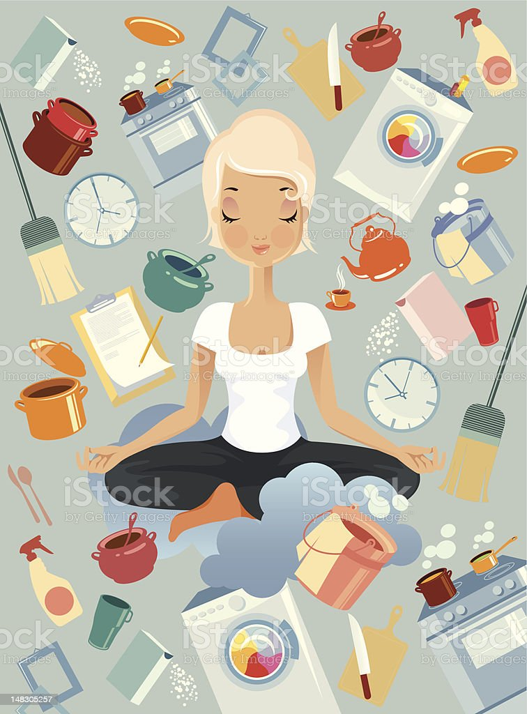 Meditation in kitchen. vector art illustration