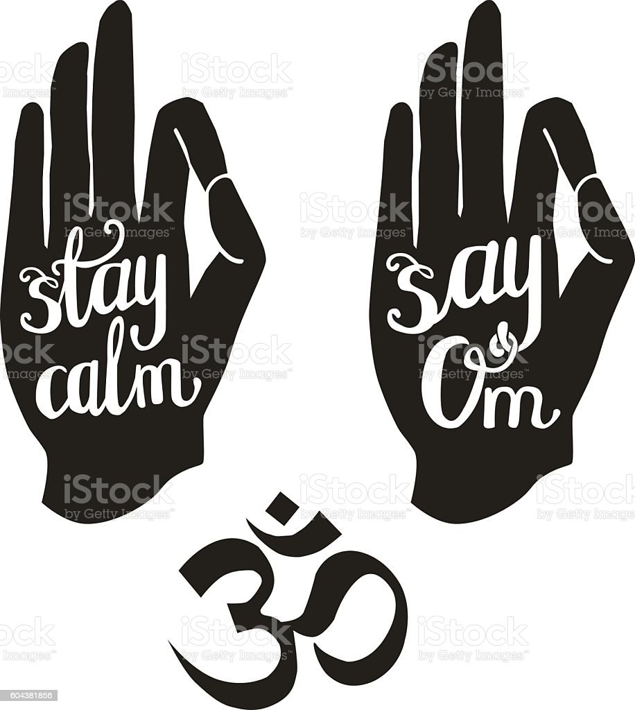 Meditation lettering with human palms vector art illustration
