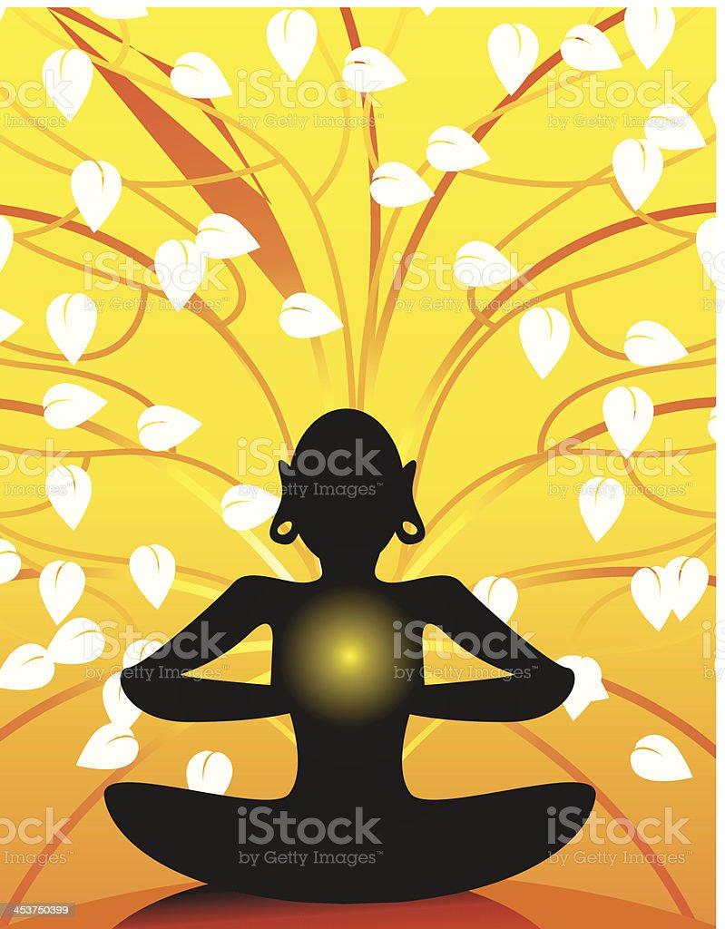 Meditation of man vector art illustration