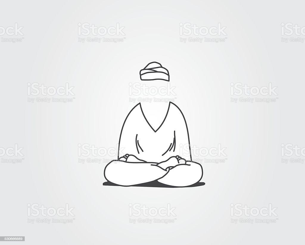Meditation process vector art illustration