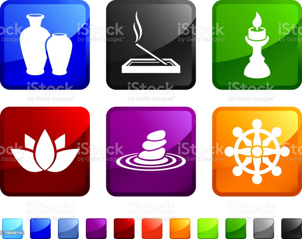 Meditation Techniques and Buddhist Symbols vector icon set stickers royalty-free stock vector art