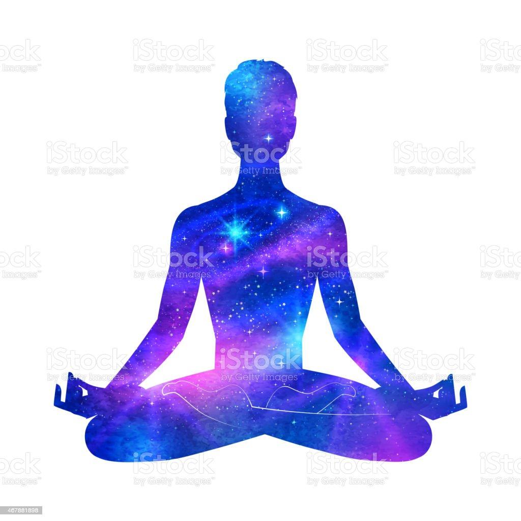 Meditation. vector art illustration
