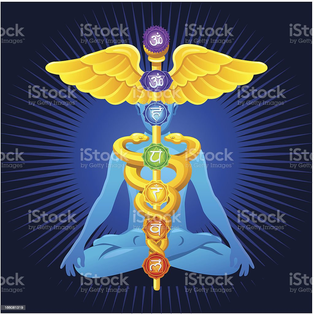 Meditation with caduceus and chakras vector art illustration