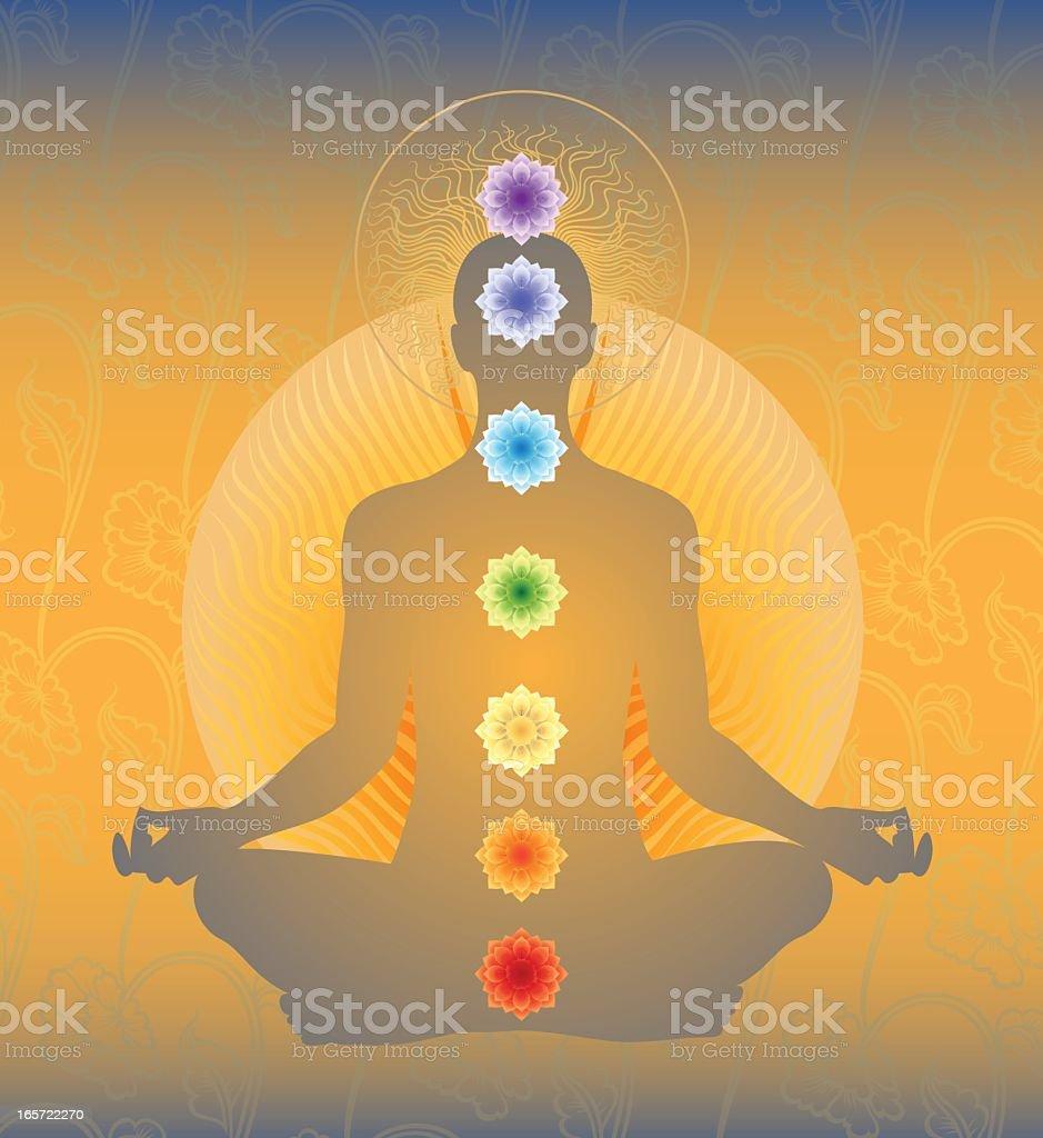 Meditation with Chakras vector art illustration