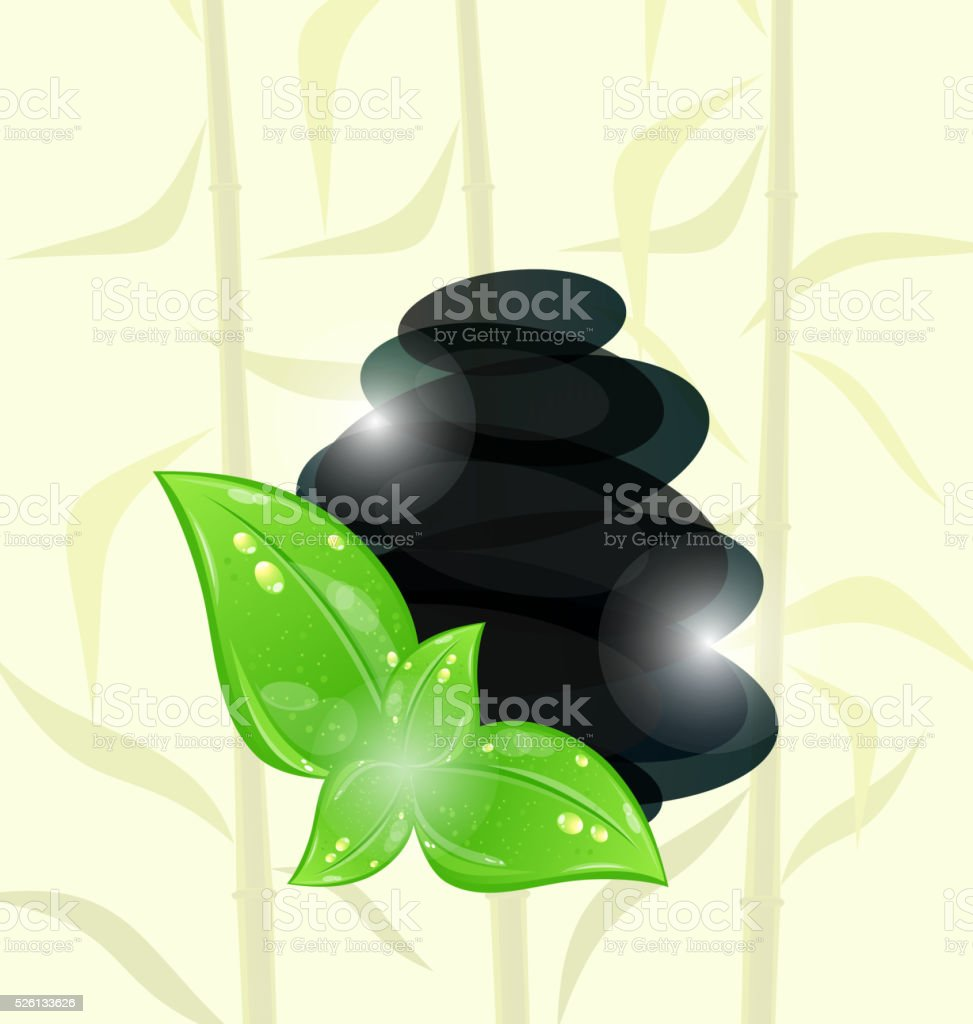 Meditative bamboo background with cairn stones and eco green lea vector art illustration