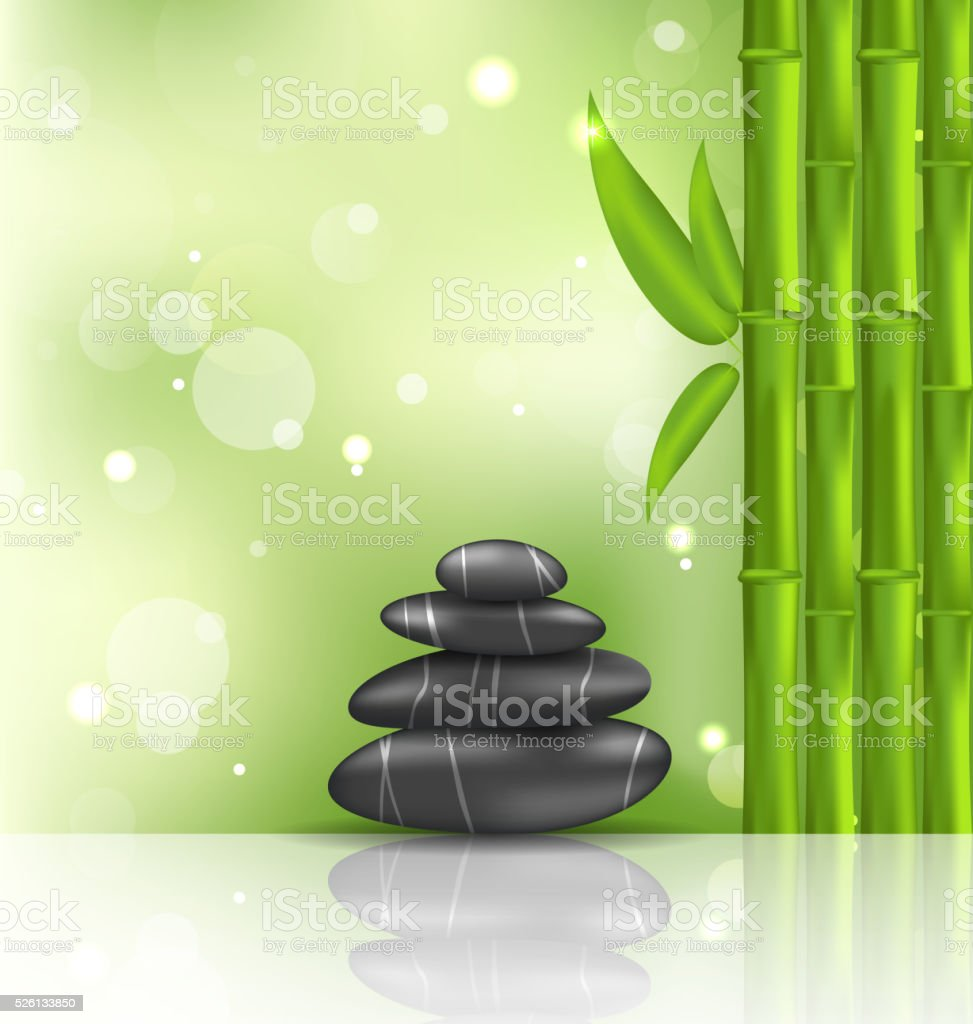 Meditative oriental background with bamboo and heap stones, spa vector art illustration