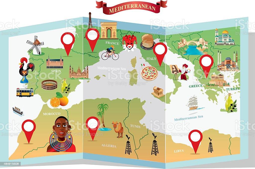 Mediterranean Cartoon map vector art illustration