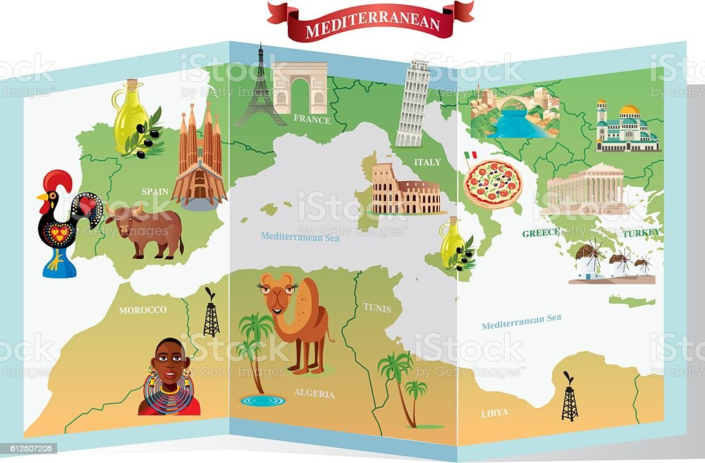 Mediterranean cartoon map vector art illustration