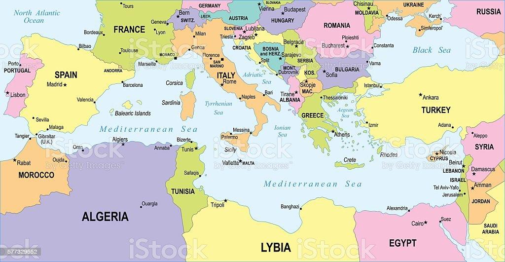 Mediterranean countries map - illustration vector art illustration