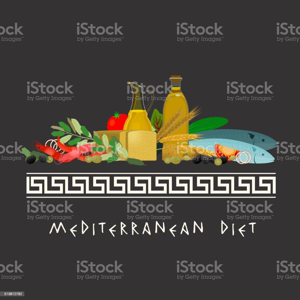 Mediterranean Diet Image vector art illustration