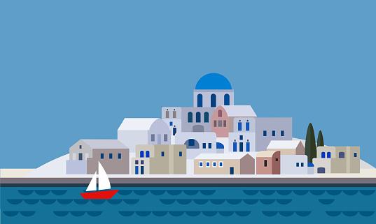 Town Landscape Vector Illustration: Santorini Clip Art, Vector Images & Illustrations