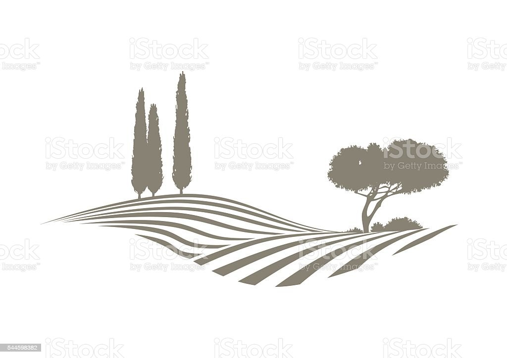 mediterranean vector landscape vector art illustration