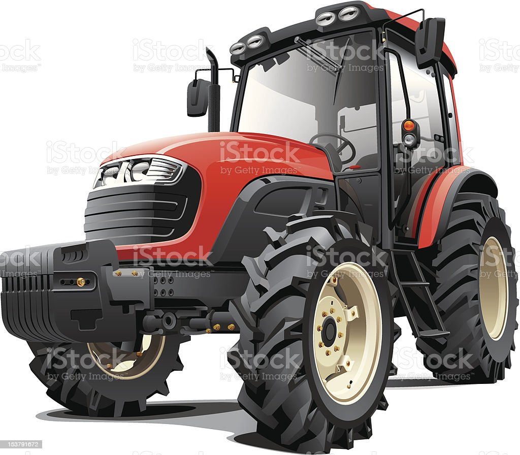 Medium sized red tractor with headlights and massive tires royalty-free stock vector art