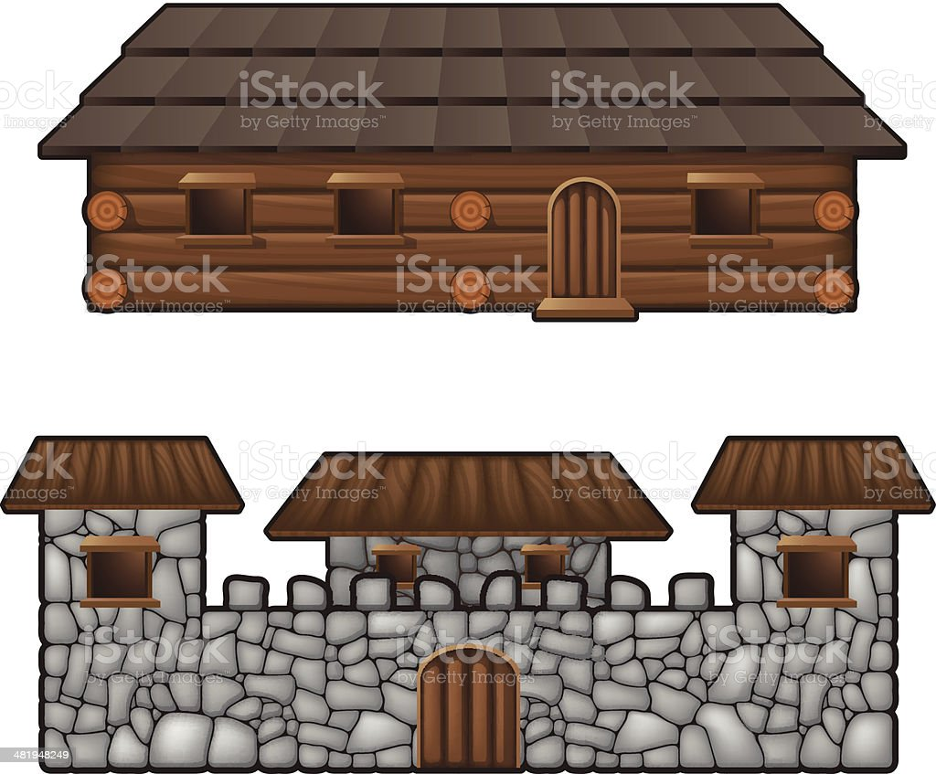 Medival housing - Fort and barracks royalty-free stock vector art