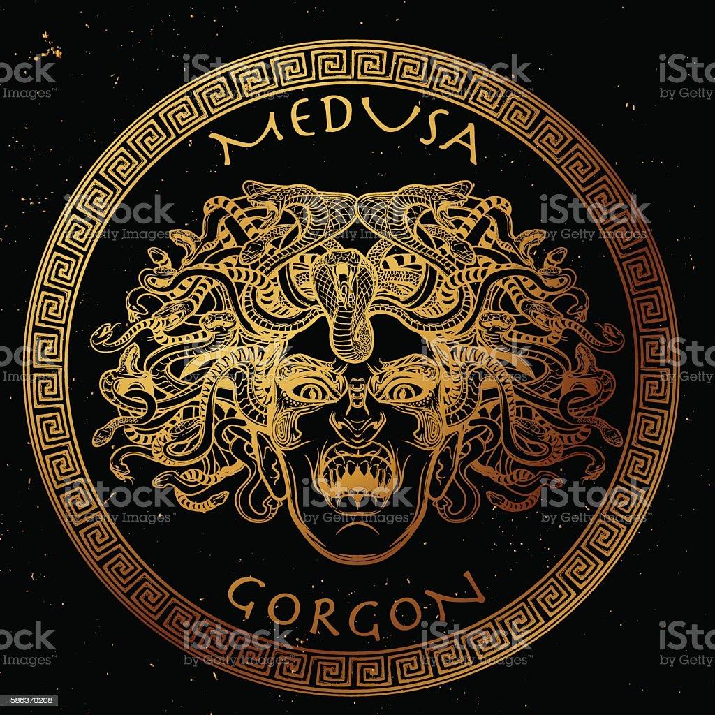 Medusa Gorgon sketch. Gold on black. vector art illustration