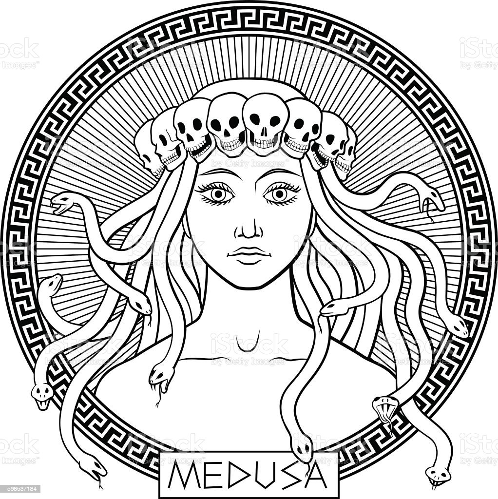 Medusa Gorgon vector art illustration