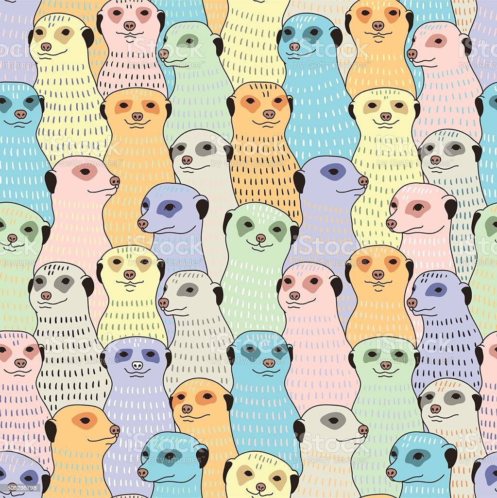 Meerkats seamless pattern vector art illustration