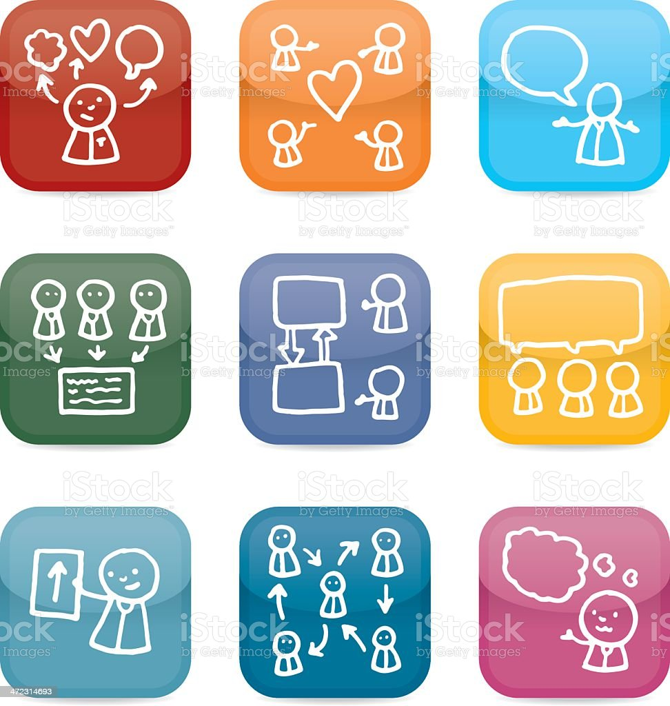 Meeting and communication icon set royalty-free stock vector art