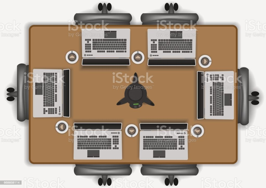 Meeting and conference room vector art illustration