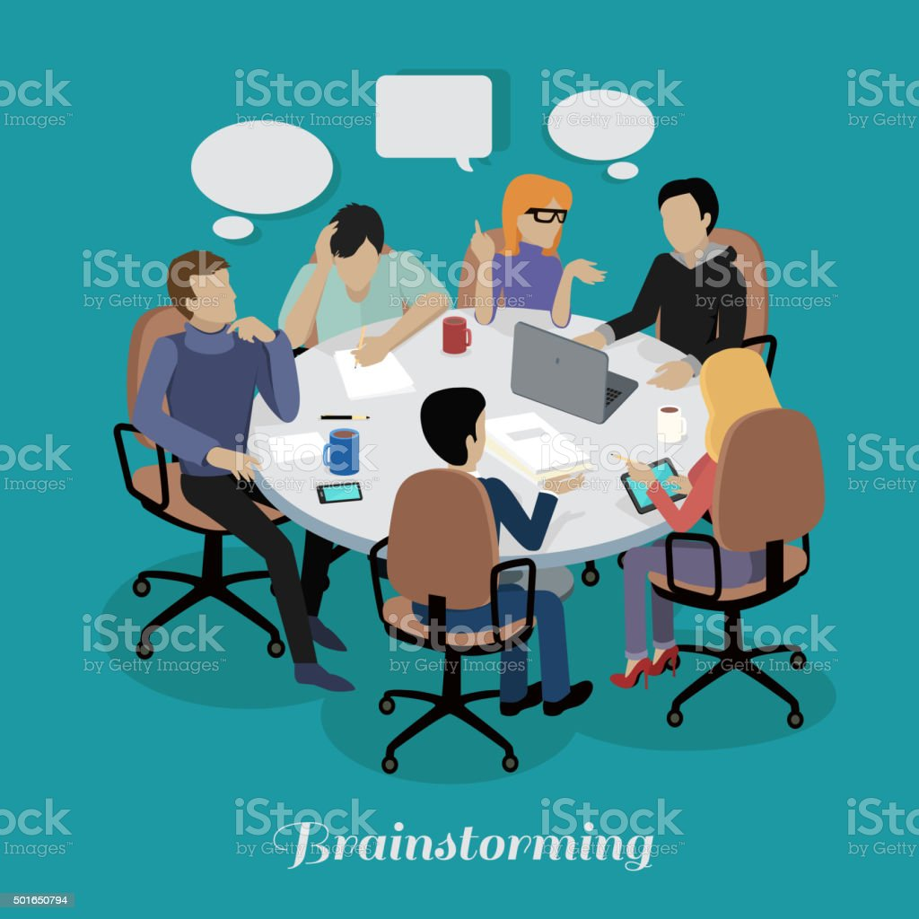 Meeting and Discussion Briefing vector art illustration