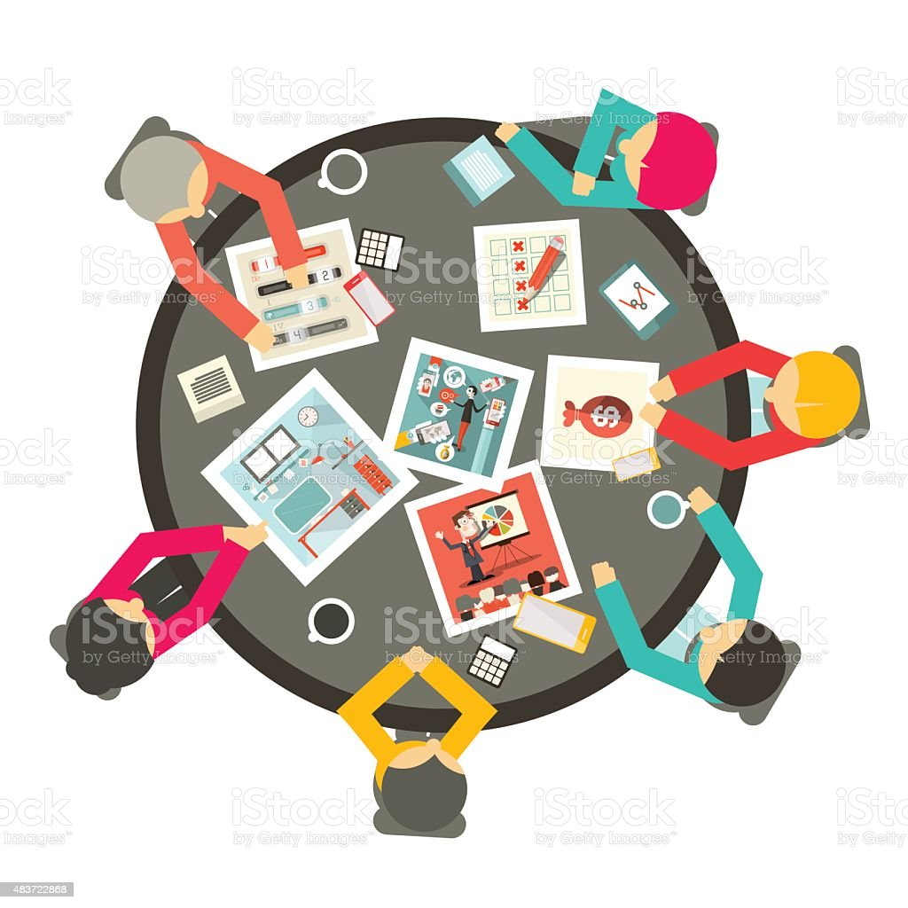 Meeting Around the Circle Table vector art illustration