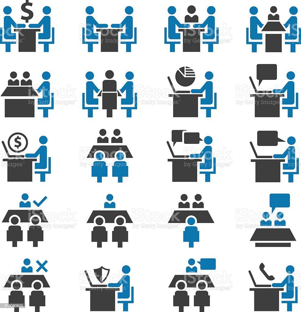 Meeting icon set vector art illustration