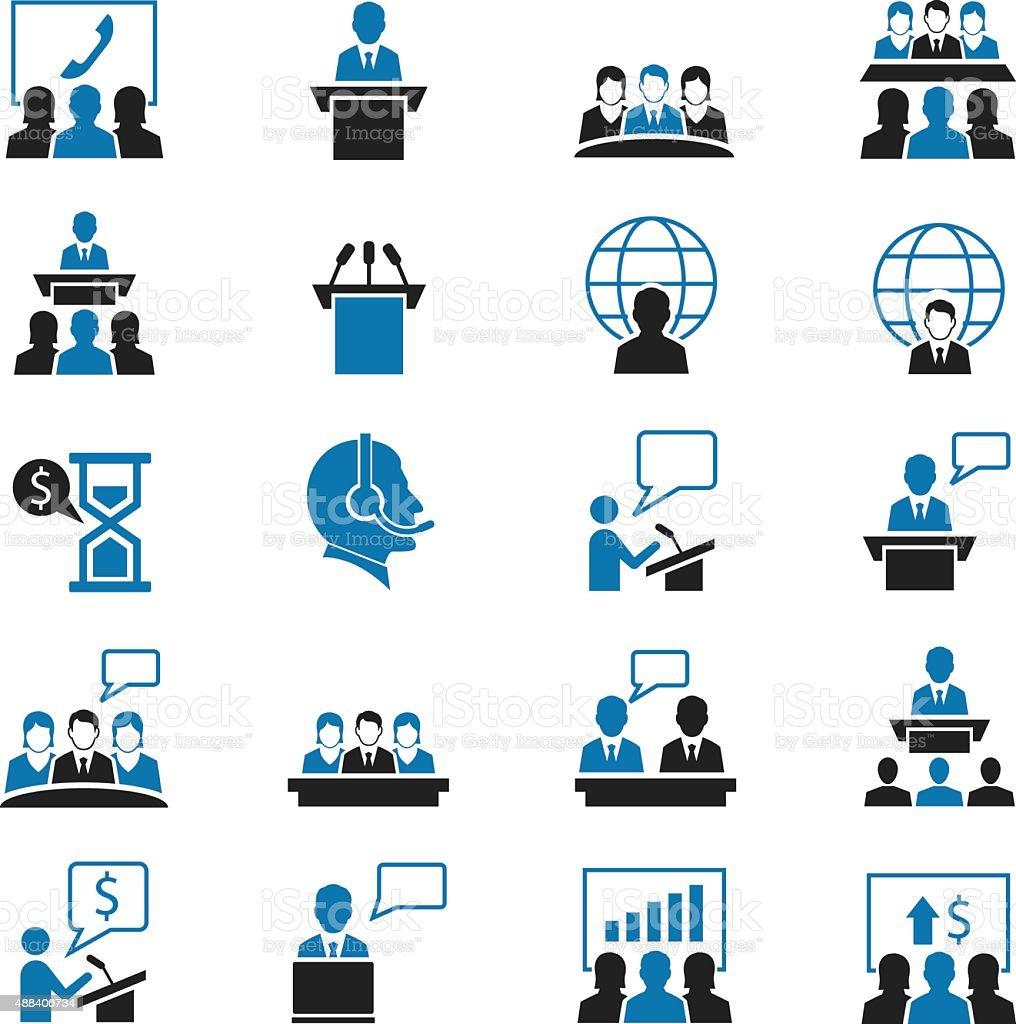 Meeting icons set vector art illustration