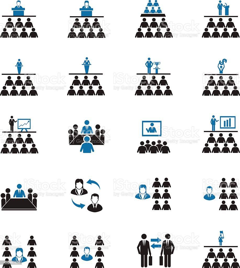 Meeting icons vector art illustration