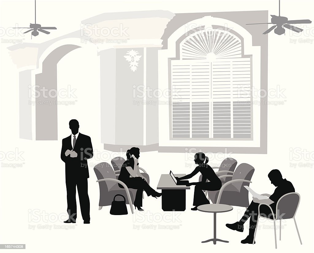 Meeting In The Lobby Vector Silhouette vector art illustration