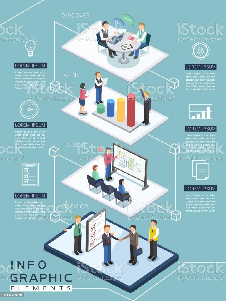 meeting process infographic vector art illustration