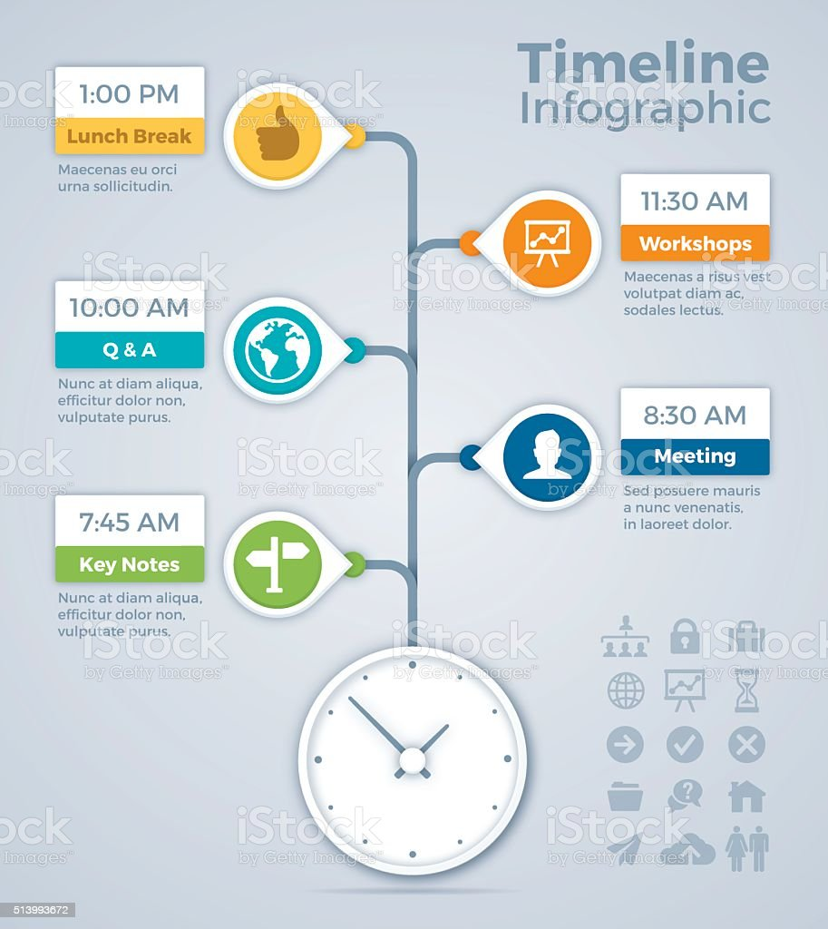 Meeting Timeline Infographic Concept vector art illustration