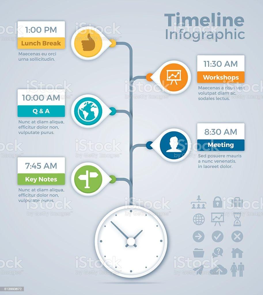 Meeting Timeline Infographic Concept vector art illustration