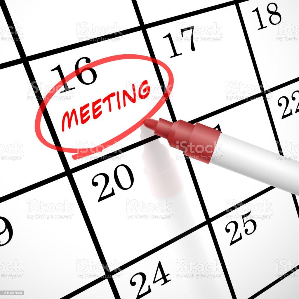 meeting word circle marked on a calendar vector art illustration