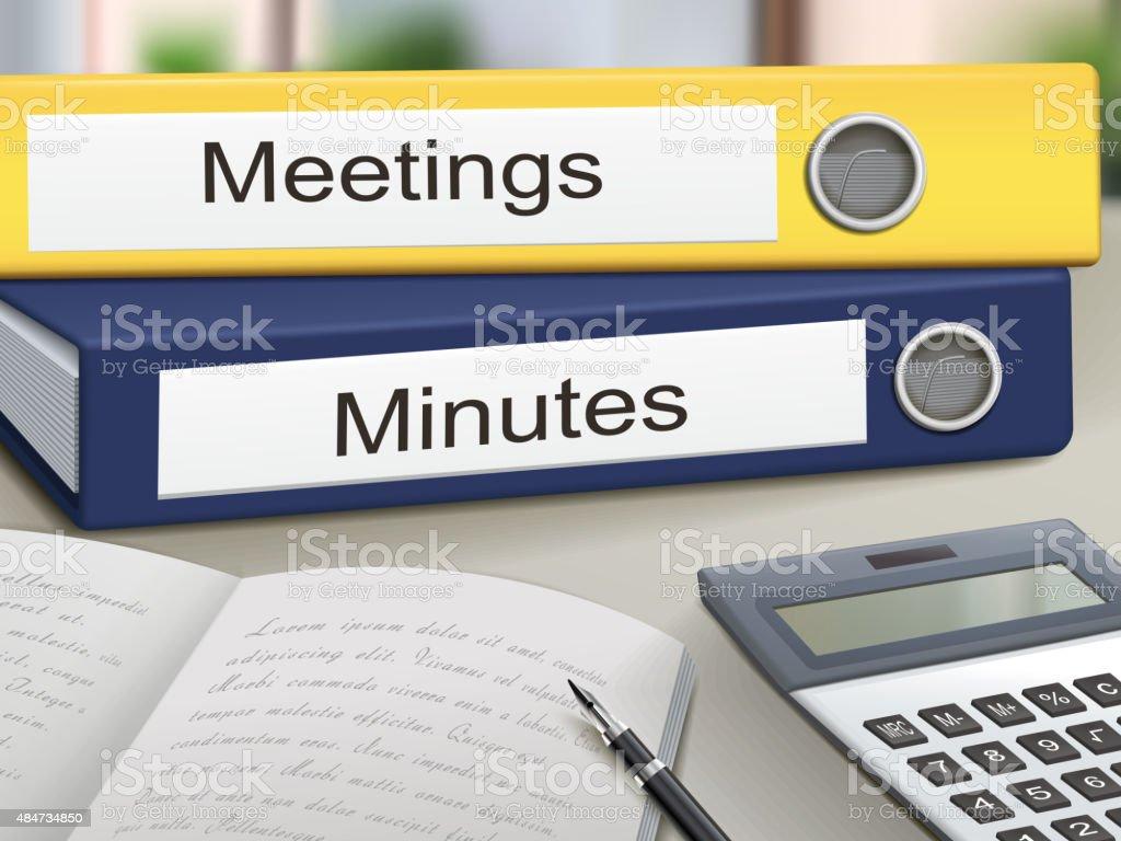 meetings and minutes binders vector art illustration