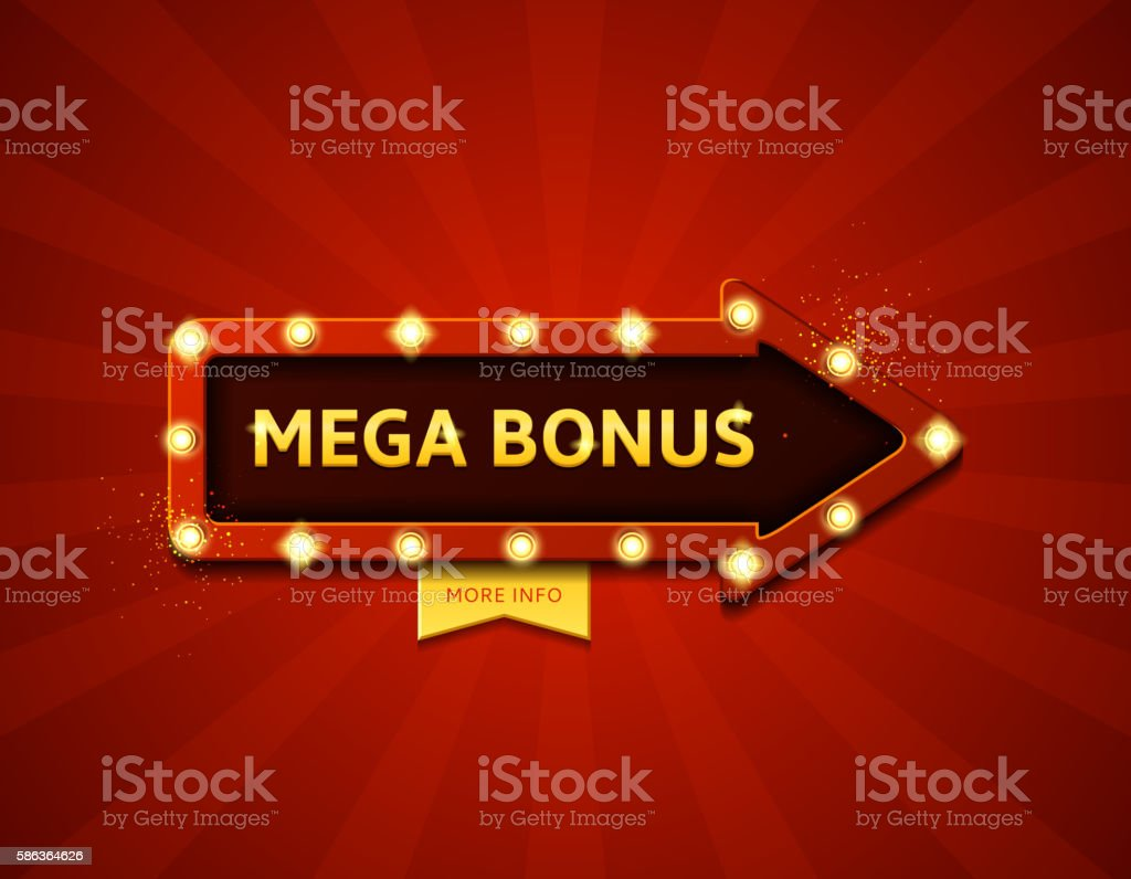 Mega bonus retro banner with glowing lamps royalty-free stock vector art