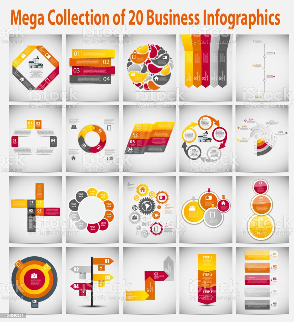 Mega collection  infographic template business concept vector il vector art illustration
