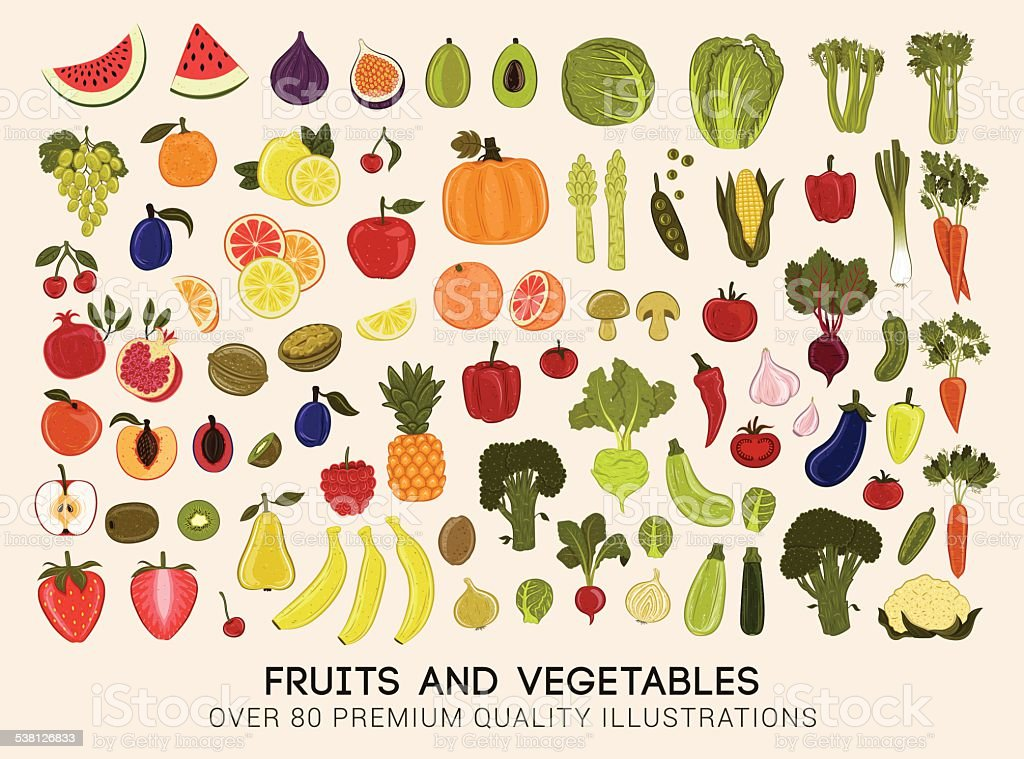 Mega collection of vector illustrations of fruits and vegetables vector art illustration