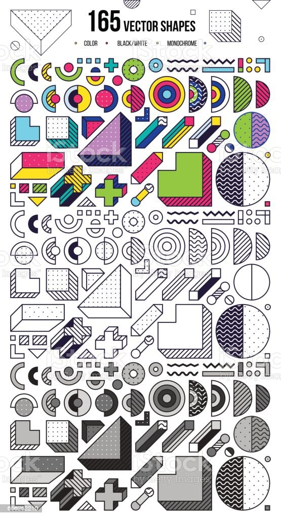 Mega collection with design elements vector art illustration