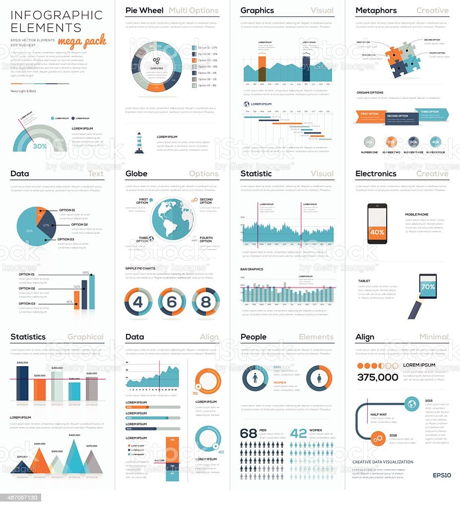 Mega colletion of infographic business vector elements EPS10 royalty-free stock vector art