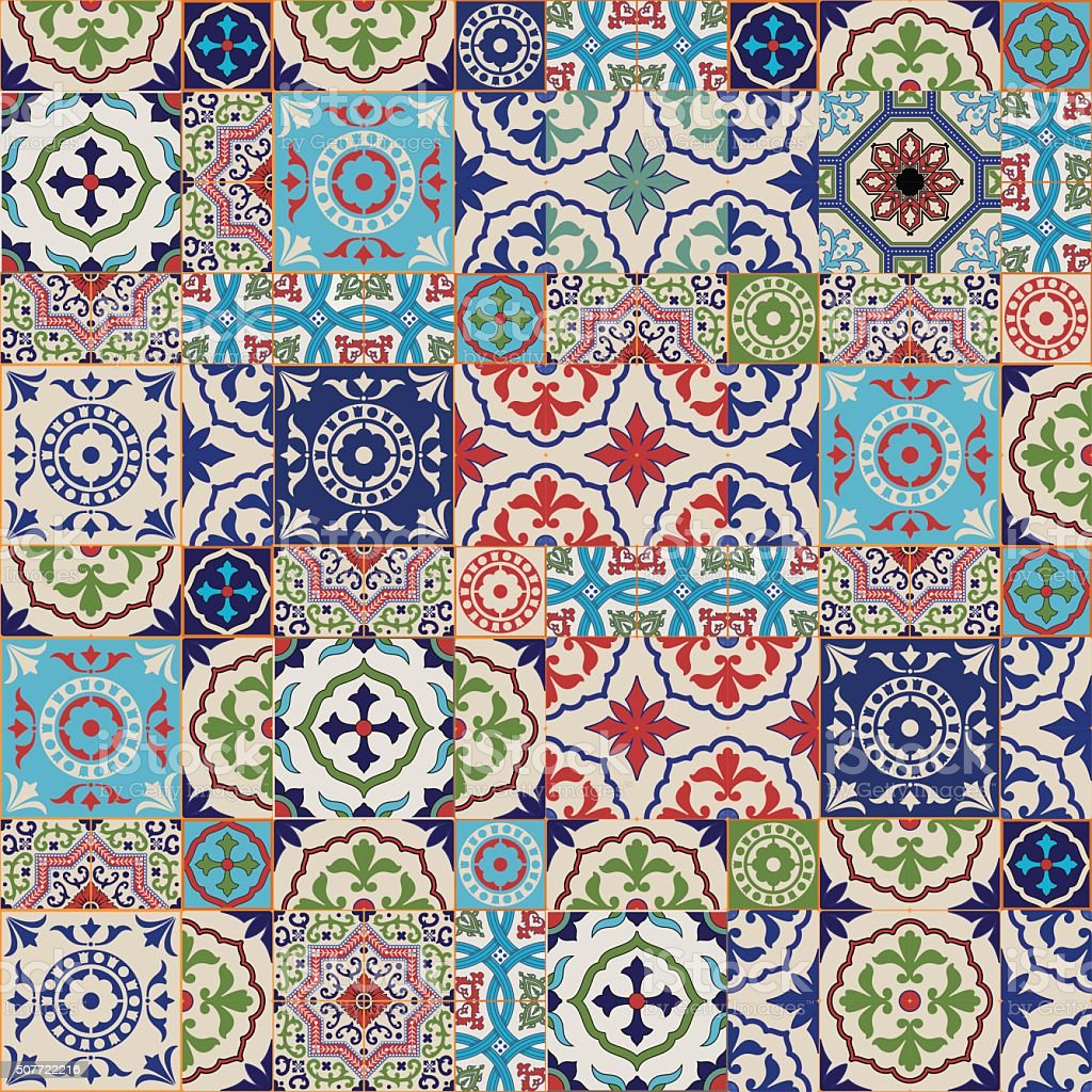 Mega splendido motivo patchwork da cuciture colorate for Mosaico marroqui