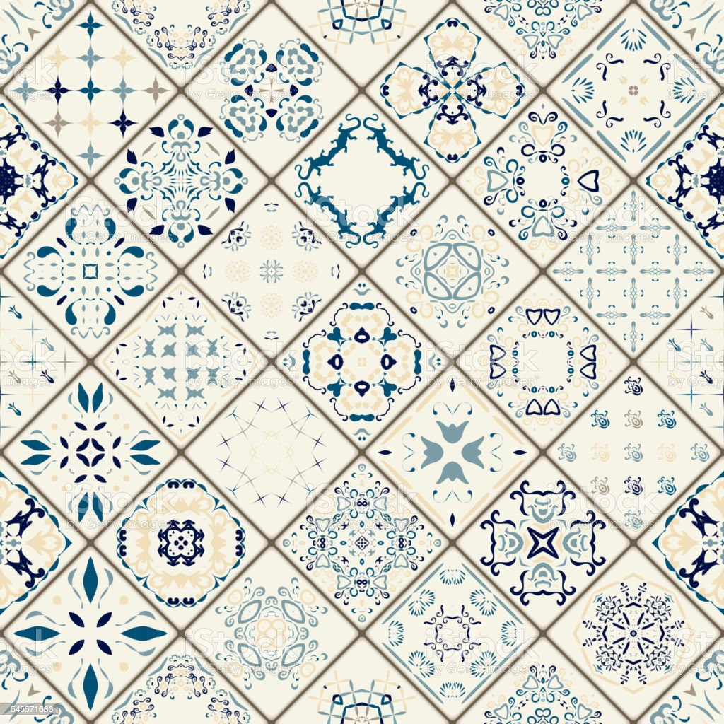 Mega Gorgeous seamless patchwork pattern from colorful Moroccan tiles. vector art illustration