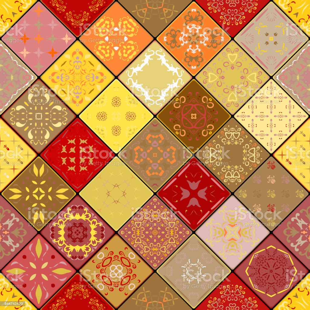 Mega Gorgeous seamless patchwork pattern from colorful tiles vector art illustration